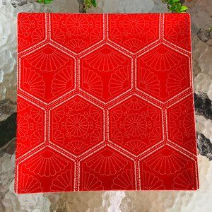 Crate & Barrel SQUARE Flat Serving Plate Red Fan